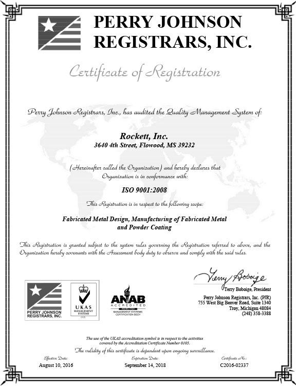 Rockett Inc ISO 9001:2008 Certificate