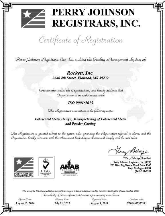 Rockett Inc ISO 9001:2015 Certificate