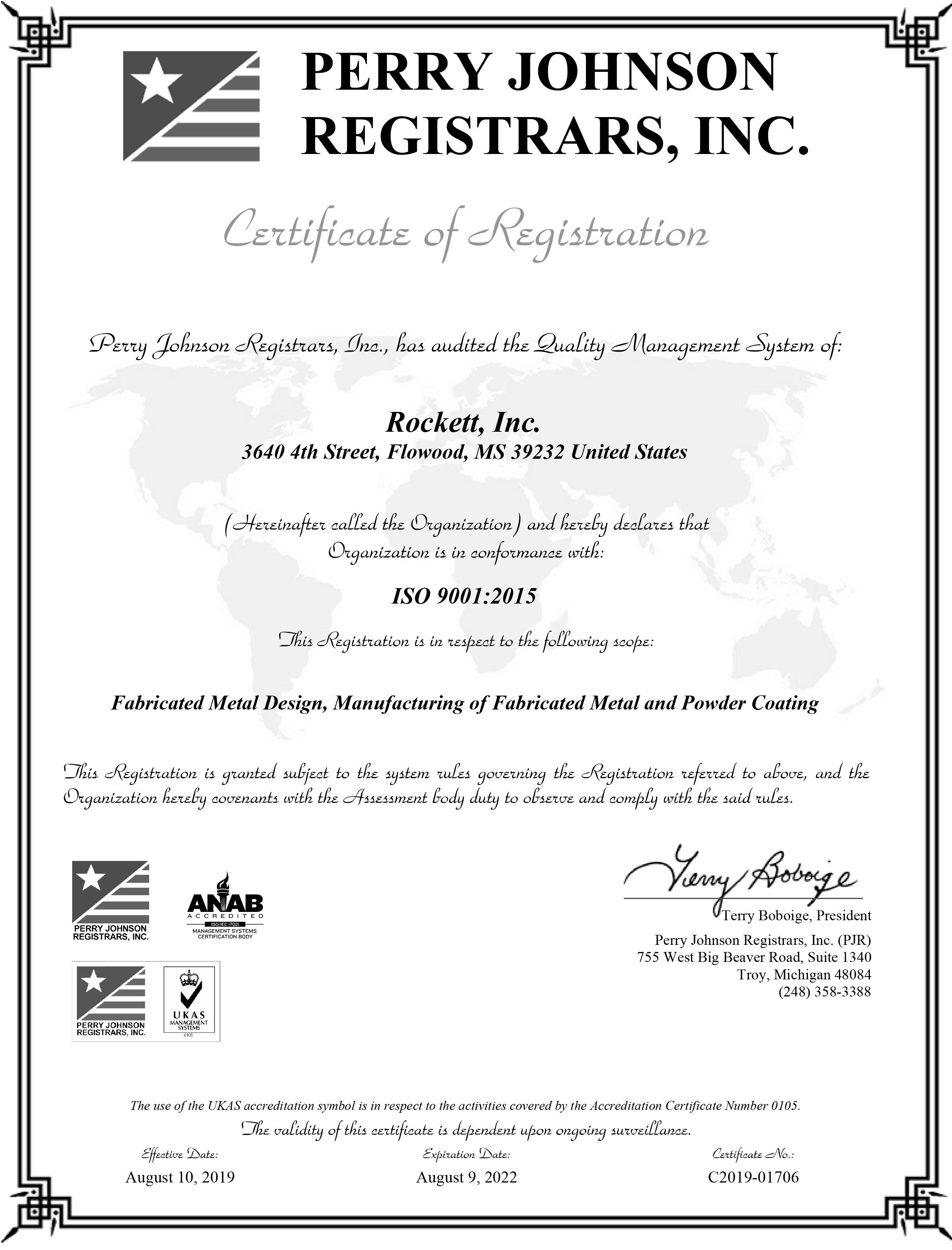 Rockett Inc ISO 9001 Certificate